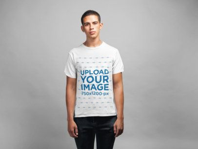 Simple T-Shirt Mockup of a Man Against Seamless Paper 21584