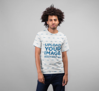 T-Shirt Mockup Featuring a Man with Curly Hair 22224