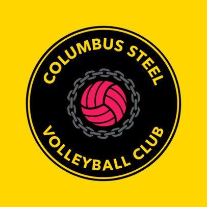 Flat Logo Design Template for a Volleyball Team Logo 1511b