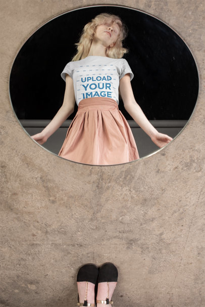 Round Neck Tee Mockup Featuring a Girl on a Round Mirror 21891