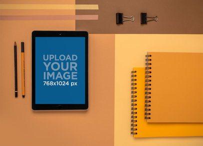 iPad Mockup of a Minimalist Desk Set Up 22808