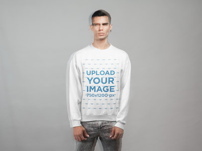Sweatshirt Mockup Featuring a Man with a Ghost Effect 21563