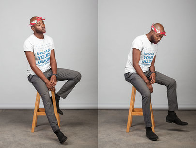 T-Shirt Mockup of a Stylish Man Sitting on a Stool 21665