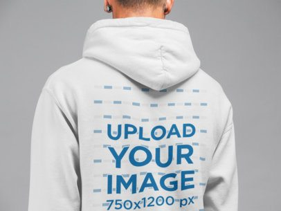 Pullover Hoodie Back Mockup Featuring a Man at a Studio 21562