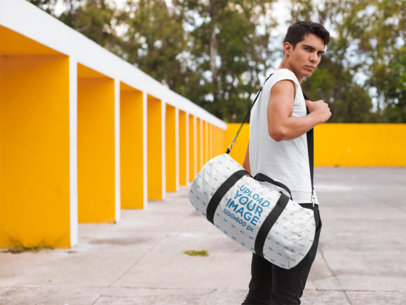 Kit Bag Mockup of a Handsome Man in a Park 23230