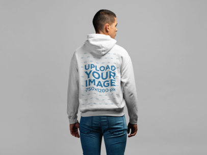 Back View Mockup of a Man Wearing a Hoodie in a Studio 21594