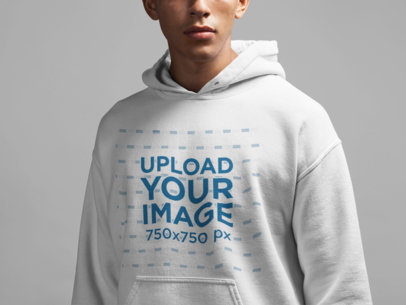 Closeup Hoodie Mockup of a Serious Young Man 21595