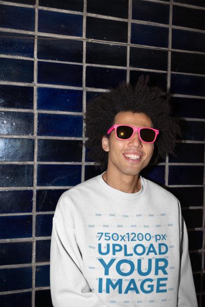 Sweatshirt Mockup of a Smiling Handsome Man 22300