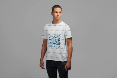 Simple Mockup of a Young Man Wearing a Tee 21586