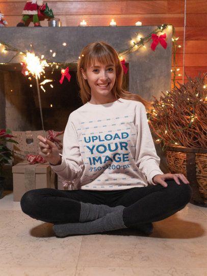 Sweatshirt Mockup Featuring a Woman Celebrating Christmas 18054