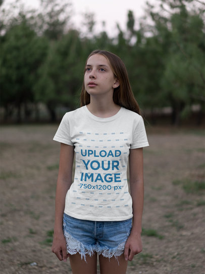 T-Shirt Mockup of a Beautiful Girl in a Field 20733