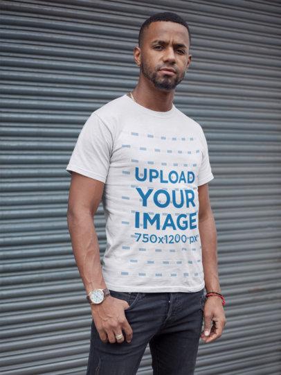 T-Shirt Mockup of a Tough-Looking Man 22753