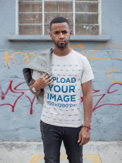T-Shirt Mockup of a Casual Man on the Street 22755