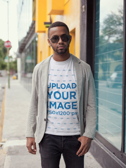 T-Shirt Mockup of a Fashionable Man 22756