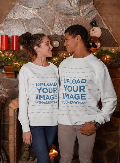 Cute Xmas Sweater Mockup of a Couple Celebrating Christmas 23521