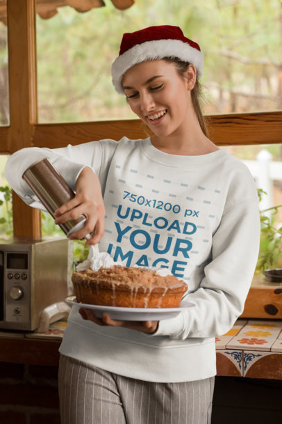 Sweatshirt Mockup Featuring a Woman Decorating Her Christmas Pie 23498
