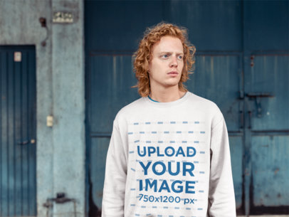 Mockup of a Red-Haired Man Wearing a Crewneck Sweater 21202