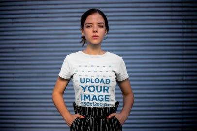 Mockup of a Trendy Woman Wearing a Tee with Her Hands in Her Pockets 20687