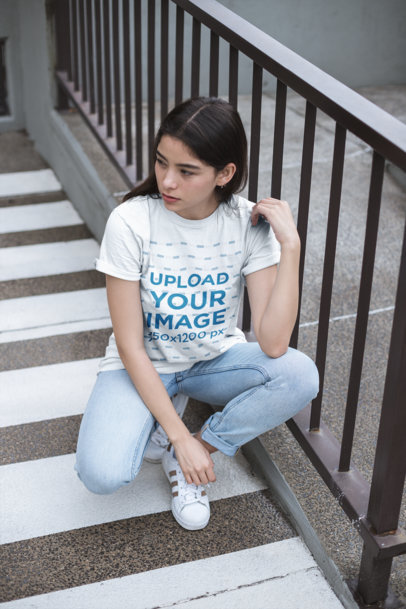 Unisex Tee Mockup Featuring a Young Woman Wearing Cool Sneakers 23007