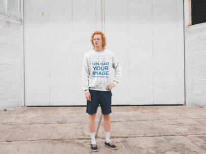 Mockup of a Tall Red-Haired Man Wearing a Crewneck Sweatshirt 21199