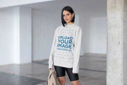 Mockup of a Trendy Woman Wearing a Comfy Sweatshirt 23106