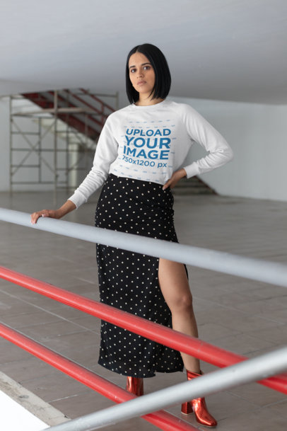 Sweater Mockup Featuring a Fashionable Brunette Woman 23110