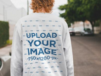 Back View Sweatshirt Mockup Featuring a Man With Red Hair Walking Away 21200