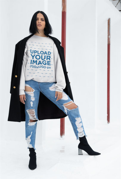 Crewneck Sweater Mockup of a Fashionable Girl in a White Room 23119