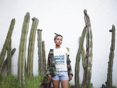 T-Shirt Mockup Featuring a Woman Standing by Cactus Plants 17211