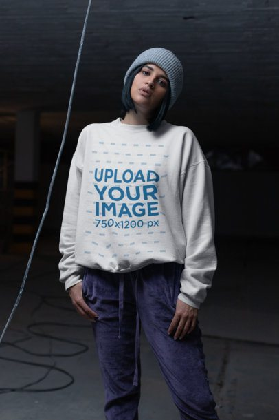 Mockup of a Serious Girl Wearing a Sweater in a Dark Room 23121