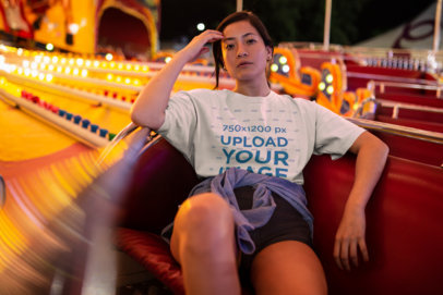 Unisex Tee Mockup of a Woman Riding a Carnival Ride 22980