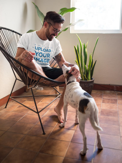 Crewneck Tee Mockup of a Bearded Man Petting His Dog on an Acapulco Chair 18084