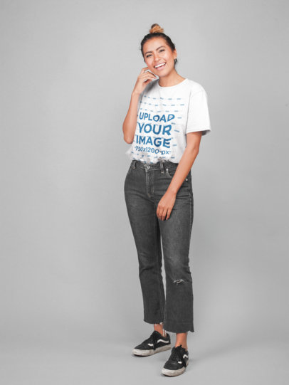 Models Wearing T-Shirts With a Flat Backdrop
