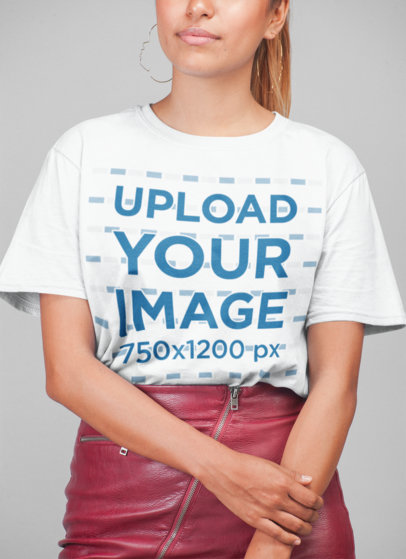 Cropped Face Mockup of a Woman Wearing a Tee and a Red Skirt in a Studio 22784