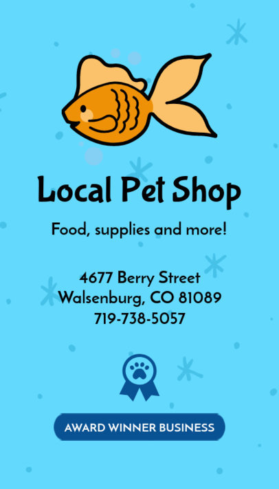 Pet Shop Business Card Maker with Vertical Layout 184a