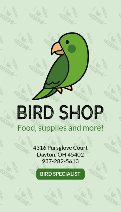 Business Card Maker for Bird Shops 184b