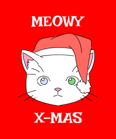 Christmas Tee Design Template with Cute Cats 835a