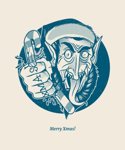 Xmas T-shirt Design Crator with Mean Krampus Graphic 834c