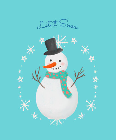 Christmas T-Shirt Design Template with Cute Frosty Snowman 827d