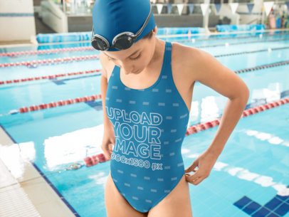 Swimsuit Mockup of a Swimmer Woman Outside the Pool 23290