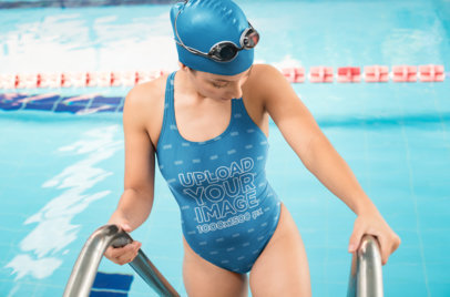 Sporty Swimsuit Mockup of a Woman Entering an Olympic Pool 23304