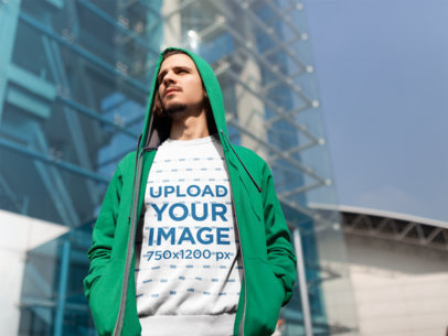 Sweatshirt Mockup of a Man Sightseeing in the City 18063
