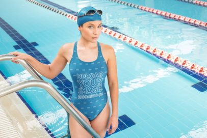 Mockup of a Competitive Female Swimmer in a Pool 23306