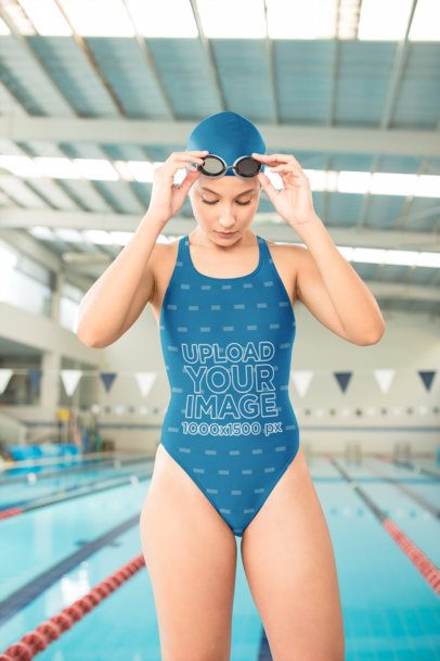 Swimsuit Mockup Featuring a Woman Getting Ready to Swim 23294
