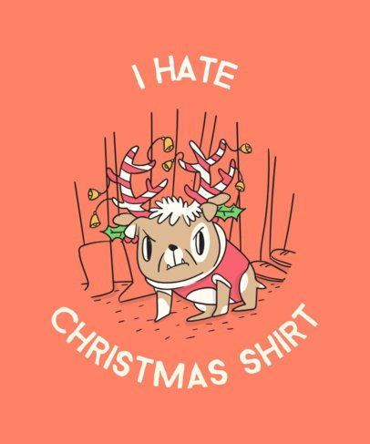 Angry Pug Christmas T-Shirt Design Template 830a
