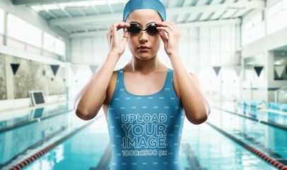 Mockup of a Woman Getting Ready for Some Swim Laps in a Semi-Olympic Pool 23317
