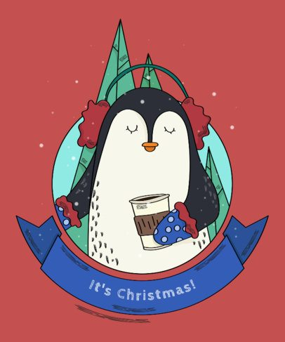 Cute Xmas Tee Design Template with Penguin Graphics 839b
