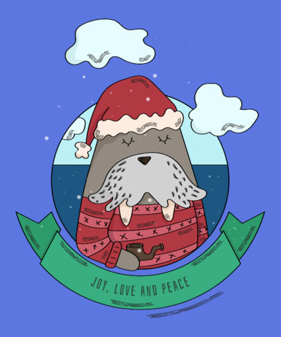 Xmas Tee Maker with Cute Walrus 839e