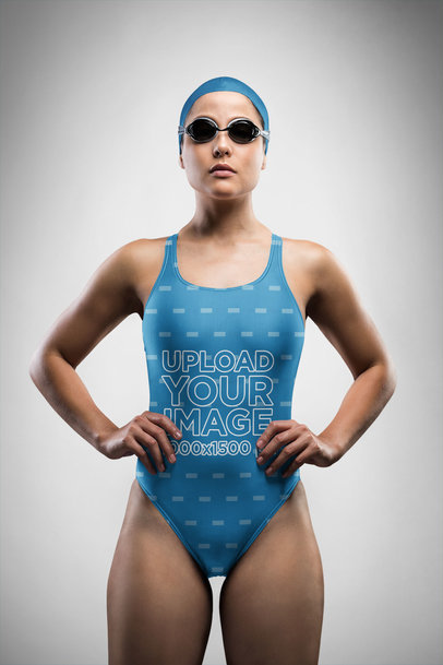 Swimsuit Mockup of a Competitive Swimmer Posing Confidently 23286
