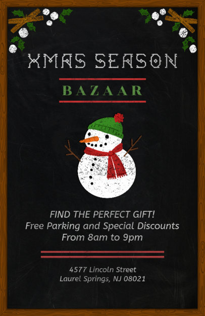 Christmas Bazaar Flyer Template with Blackboard Design 863a